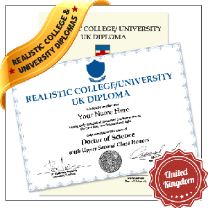 Replica Diploma from United Kingdom University