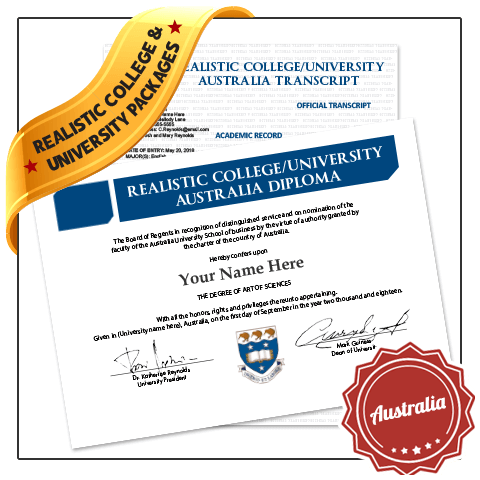 Set of real diplomas from Australia college along with matching transcripts showing arts of sciences classes and complete student details