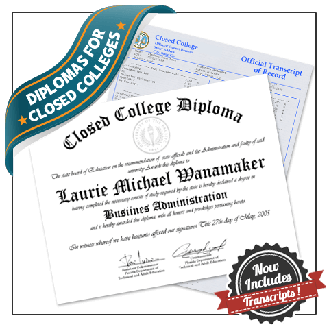 Closed College Diplomas and Transcripts