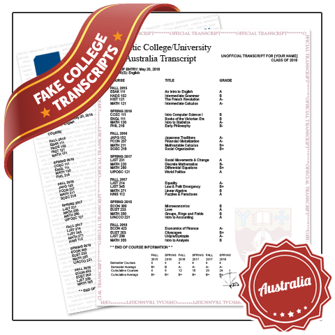 Set of Australia transcript mark sheets showing complete student and class details on signed and embossed academic security paper