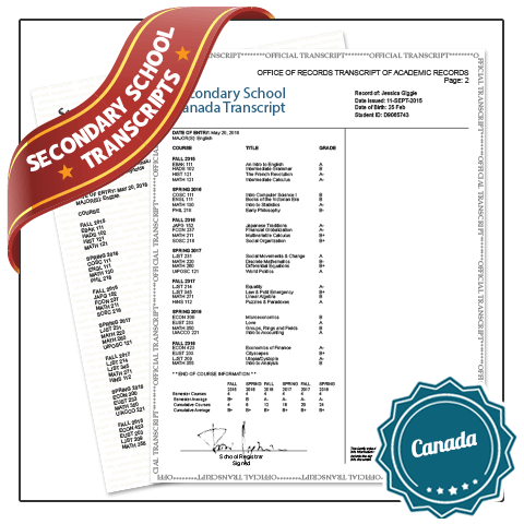 Custom Fake Secondary School Transcripts Canada from BuyaFakeDiploma.com! Features Secondary Classes & Fake Scores. Embossed & Signed!