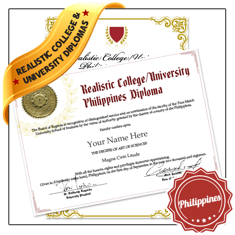 Philippines college diploma with gold embossed seal next to diploma with shiny border