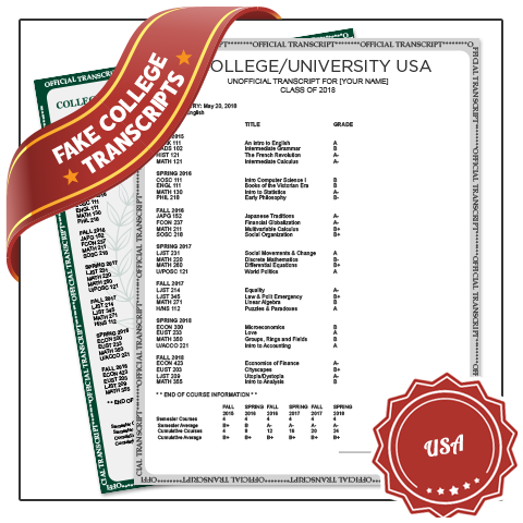 Get best in Fake University Transcript Canada! Features Real Canadian Coursework & Grades. Embossed & Signed! Amazing Quality.