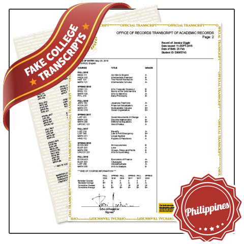 Get best in College University Philippines Transcripts! Features Real College Coursework, Custom Grades. Embossed on Real Paper. Amazing Quality.