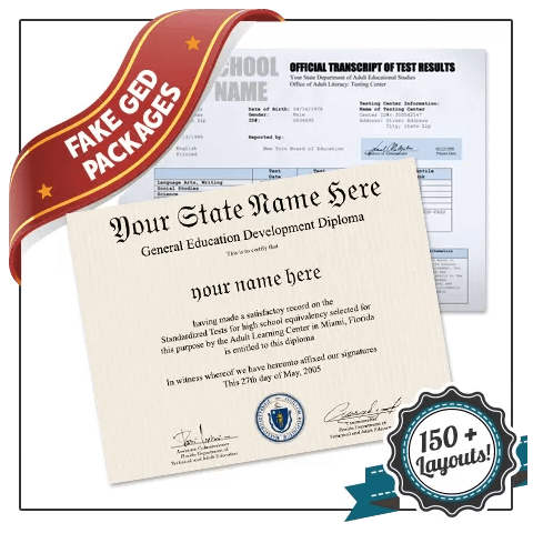 Get set of Fake GED Diplomas and Test Scores! Complete diploma and test score package. Best value!