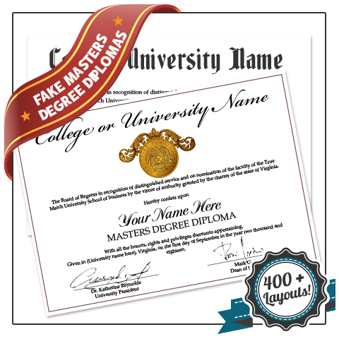 master degree diploma with shiny gold embossed seal from university on decorative white paper