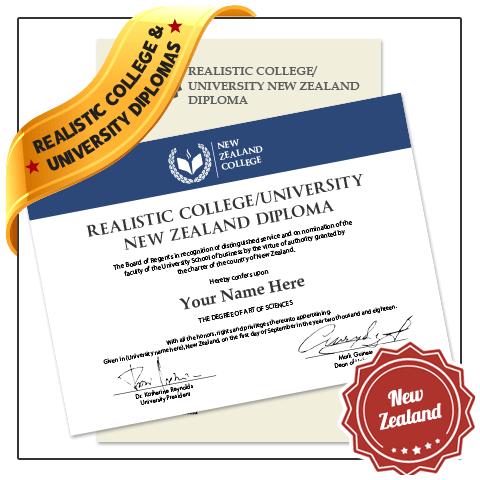 Jaw Dropping Realistic Replica College & University New Zealand Diploma Online! Captures Real Diploma Detail! Amazing Realism!