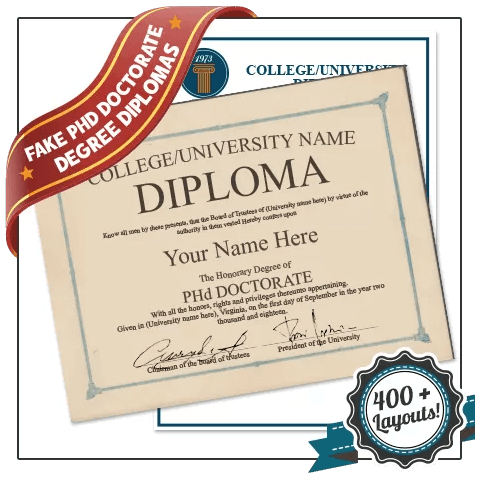 Signed by hand Phd diploma featuring doctorate layout on border paper with second diploma with school seal behind it