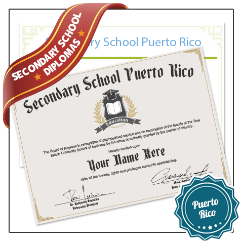 Buy Fake Secondary School Puerto Rico Diplomas from BuyaFakeDiploma.com today! Realistic & Satisfaction Guranteed!