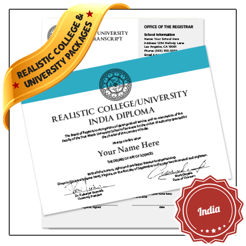 India university diploma featuring solid aqua border and embossed black seal next to set of complete academic transcripts