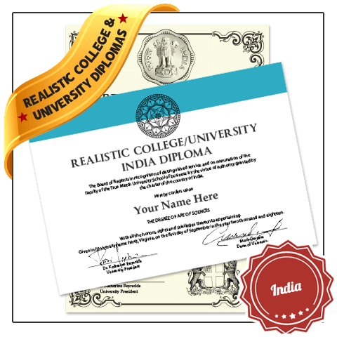 India college diploma with black raised seal next to version featuring decorative border