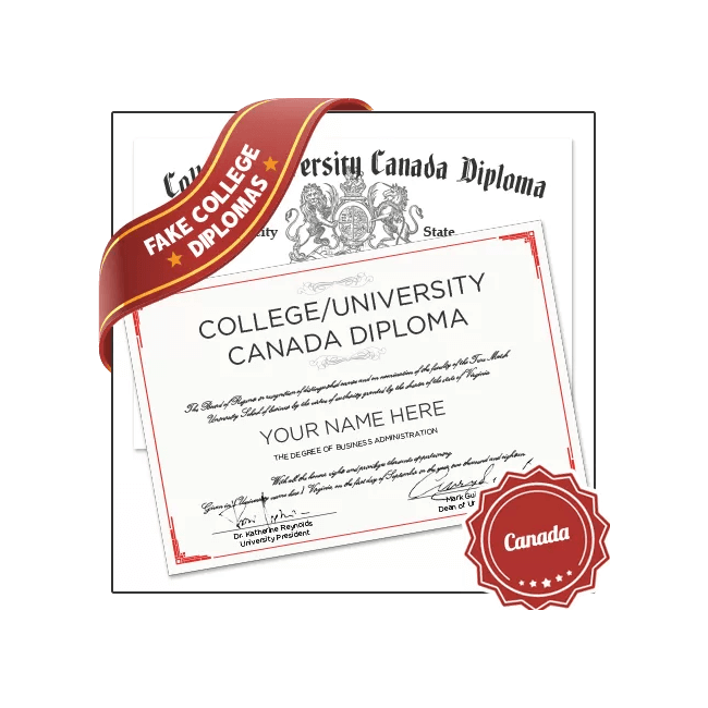 Buy Realistic Fake Canada College Diploma from BuyaFakeDiploma.com today! Designed from real university degree. Satisfaction Guaranteed!