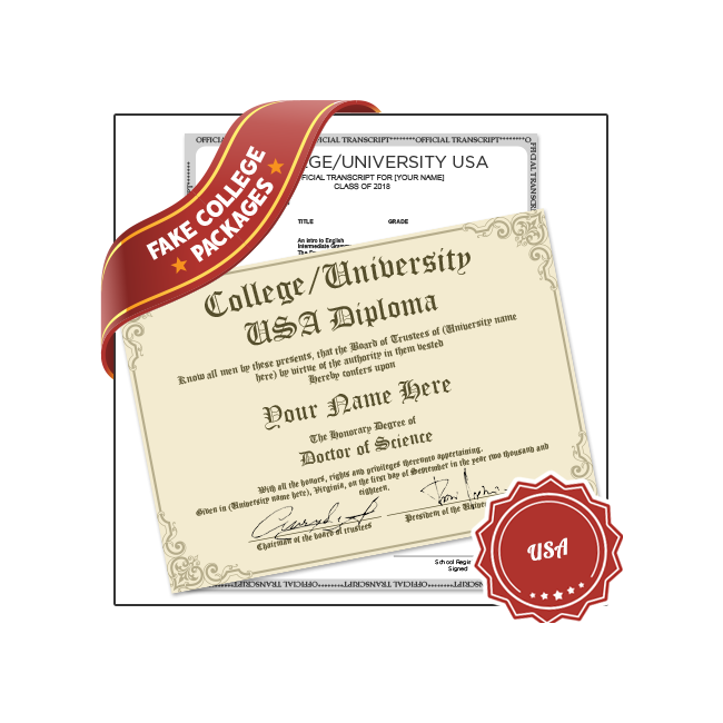 Get a low cost affordable Fake College University USA Diploma! Features 400+ regional university designs. Best option for novelty college diploma.