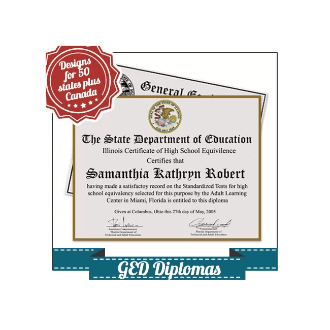 Get a Fake GED Diploma today! Features high-quality regional USA & Canada layouts. Amazing quality and a money-back guarantee!
