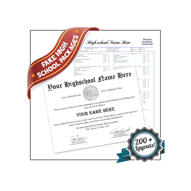 Get Fake High School Diplomas and Transcripts! Complete Set! Save 20% By Packaging!