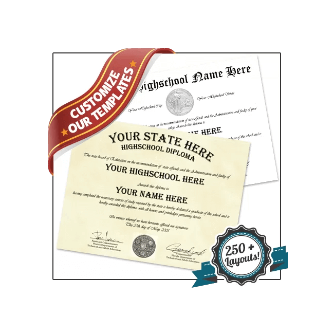 Get a fake high school diploma! All 50 states! Authentic look and feel. Free proofs & satisfaction guaranteed!