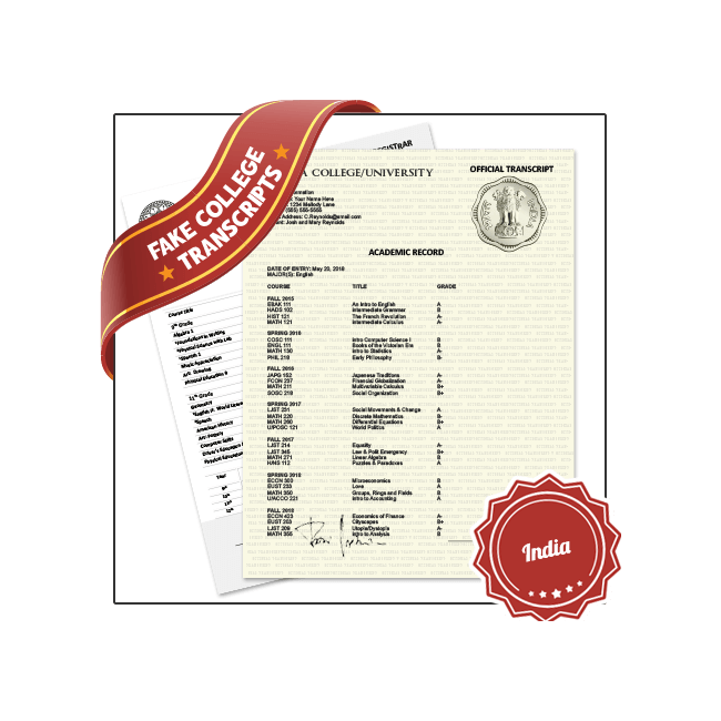 Get best in College University India Transcripts! Features Real College Coursework, Custom Grades. Embossed on Real Paper. Amazing Quality.