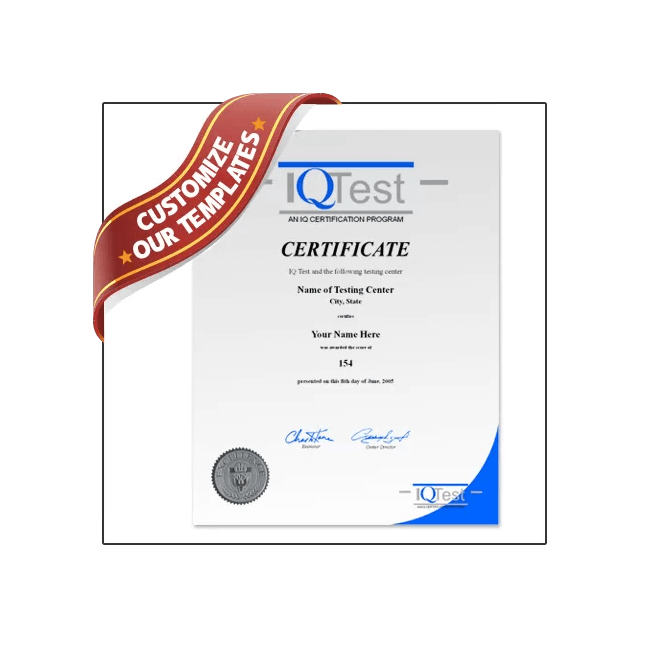 Look like genius with a Fake IQ Certificate from BuyaFakeDiploma.com this January! Replica mensa certificate.