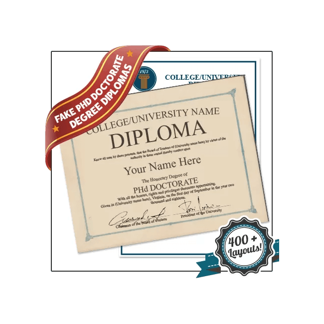Get a Fake PhD Diploma from BuyaFakeDiploma.com! Best Quality Guaranteed! Replicated Doctorate Degrees.