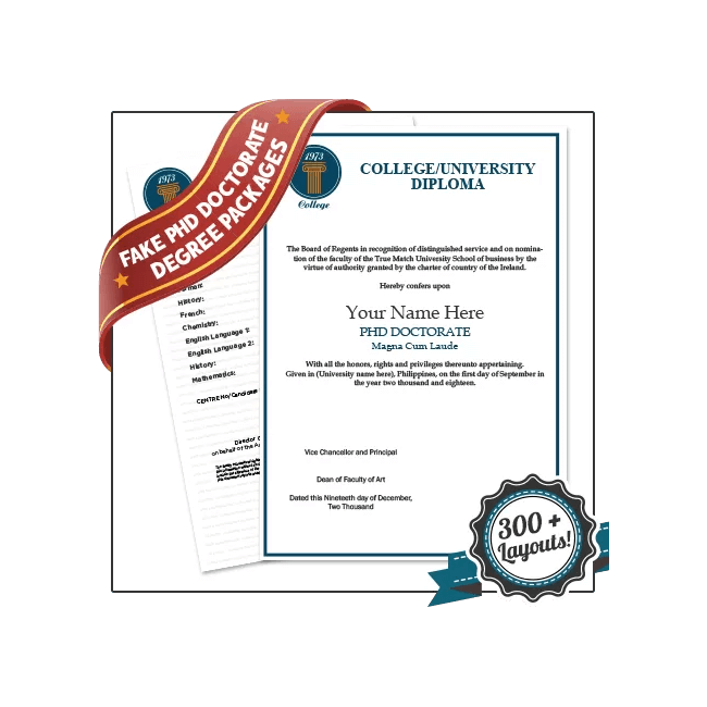 High Quality Fake PhD Degree with Transcripts! Features Complete Doctorate Diploma & Transcript Set. Save 20%!!
