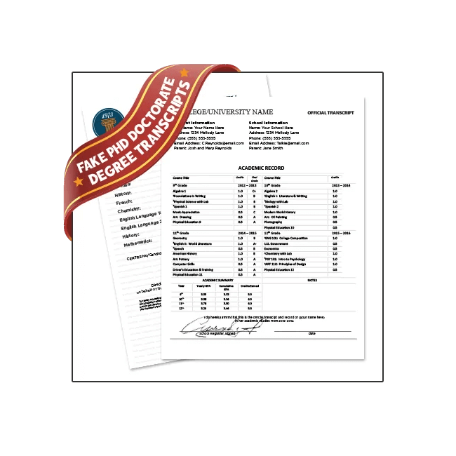 Custom Made Fake PhD Transcripts from BuyaFakeDiploma.com! Doctorate Classes, Embossed, Custom Scores, Signed! Highly Realistic!