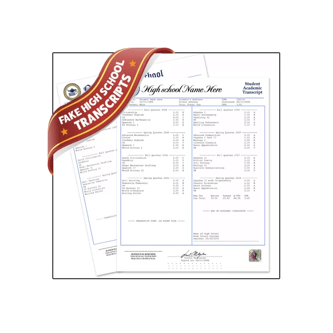 Find realistic fake USA high school transcripts today!  Real classes & embossed! Money-back guaranted.