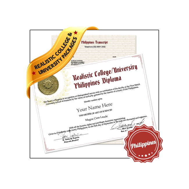 Get Replica Fake Philippines College Diplomas and Transcripts today! Custom grades & classes! Amazing quality!