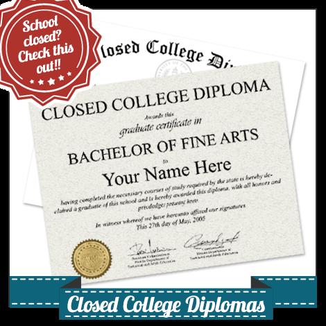 Closed College Diploma