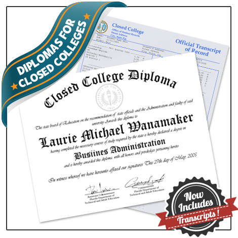 Get a set of diplomas and transcripts from a closed college today! Replacing documents from shut down schools is hard. BAFD Prints makes it easy.