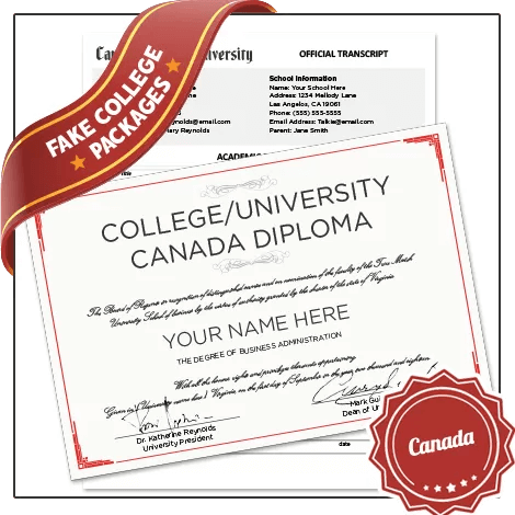 Get Fake Canada University Degrees with Transcripts from BuyaFakeDiploma.com today! Custom grades & classes! Amazing quality!