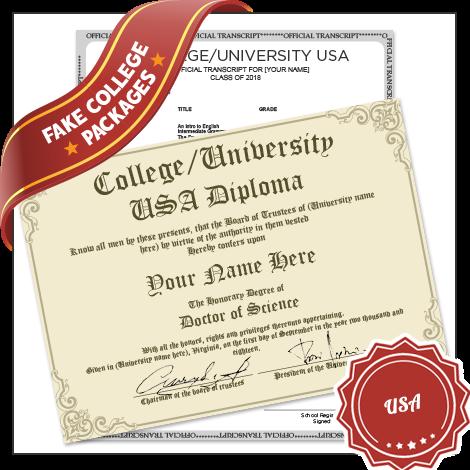 Fake College University USA Diploma