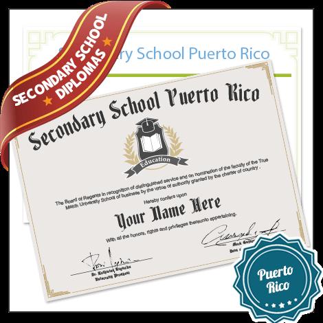 Buy Secondary School Puerto Rico Diplomas