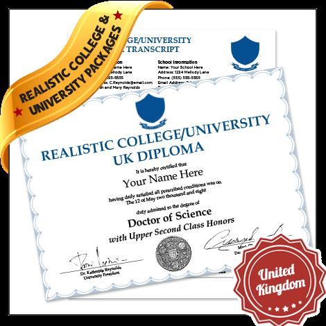 Replica Fake United Kingdom College Diplomas and Transcripts