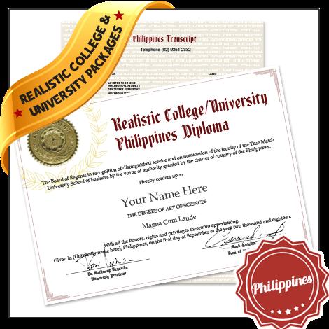 Replica Fake Philippines College Diplomas and Transcripts