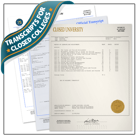 Get a set of replacement transcripts from closed colleges and universities! Features real classes & embossed. You have to see this!